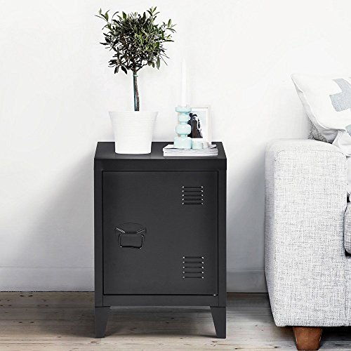 HomyCasa   Metal Locker Side Sofa/Couch End Table   Bedside Night Stand   Accent Safe Home Accessory Display Mini Bookcase with Hidden Shelves Organizer and Storage (Black) by HOMY CASA (Image #2)