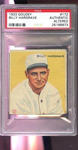 1933 Goudey #172 Billy Hargrave Boston Braves PSA AU ALT Graded Baseball Card