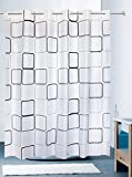 Oversized Shower Curtain Hookless Shower Curtain Square Lattice Grid Pattern Geometric Abstract Minimalist - White and Black Grey Gray Print Plain Texture Stripe for Bathroom without Hooks [YUMIKO]