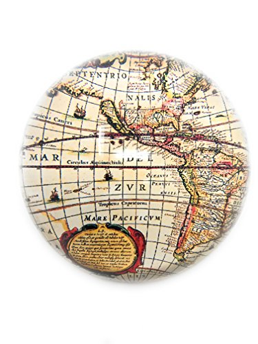 - Glass Dome Paperweight by Value Arts, Antique World Map, 3 Round