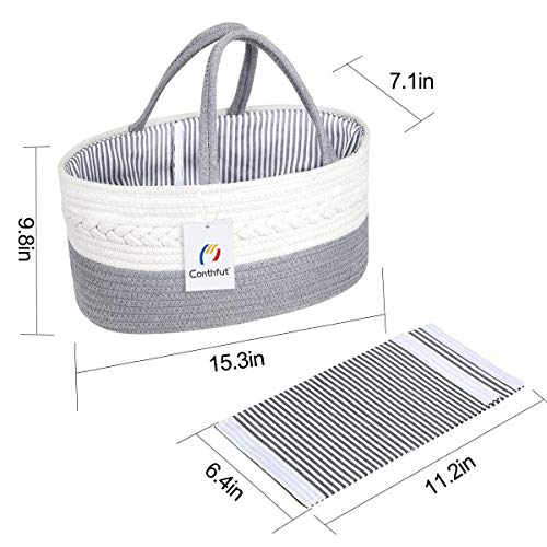 Conthfut Baby Diaper Caddy Organizer 100% Cotton Canvas Stylish Rope Nursery Storage Bin Large Portable Tote Bag & Car Organizer with Removable Inserts Top Baby Shower Gift Basket