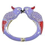EVER FAITH Dual Kissing Cockatoo Cuff Bracelet Purple Enamel