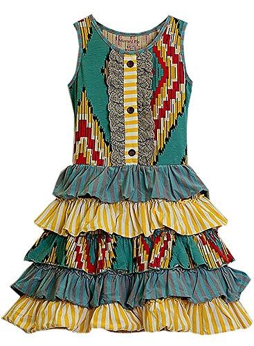 Mustard Pie Baby Girls' Josephine Sunset Dunes Dress 18MOS Turquoise -