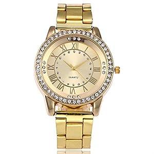 Toamen Women's Fashion Marble Stainless Steel Band Rhinestone Quartz Wrist Watch