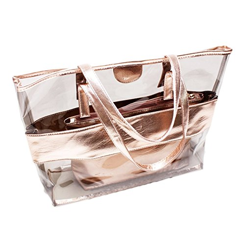 Women Travel Beach Shoulder Semi Handbag Color 2pcs Stripe clear Cosmetic Lady Pvc Pink Bag Candy Brown Transparent Girl Bags Tote 7qqBXw