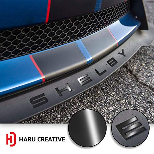 (Haru Creative - Front Splitter Lip Hood Grille Letter Insert Overlay Vinyl Decal Compatible with and Fits Mustang Shelby GT350 2015-2018 - Gloss Black)