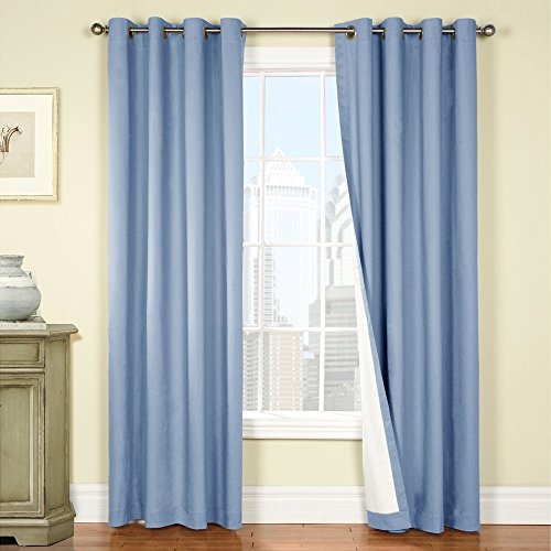 jinchan Thermal Insulated Blackout Curtains for Bedroom – Light Blue, 84 inch Long – One Panel