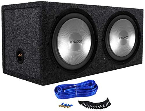 """(2) Kenwood KFC-W12PS 12"""" 2000w Car Audio Subwoofers+Sealed Sub Box Enclosure"""