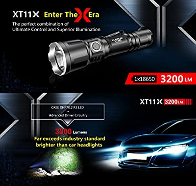 Klarus XT11X 3200 Lumens CREE XHP70.2 P2 LED 18650 Extreme Illumination Rechargeable Tactical Powerful Flashlight 2 x 18650 Battery,SKYBEN Battery Case USB Light(XT11GT Upgraded Version)