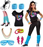 Womens I Love The 80's Disco 80s Costume Outfit Accessories (L/XL, 80s Blue)