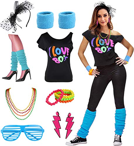 Womens I Love The 80's Disco 80s Costume Outfit Accessories (L/XL, 80s ()