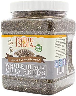 El orgullo de la India - Las semillas enteras Negro Chia - Omega-3 y calcio Superalimentos, 1,5 libra Jar - Las semillas de Chia Negro entera - Omega-3 y calcio súper: Amazon.es: Alimentación y bebidas
