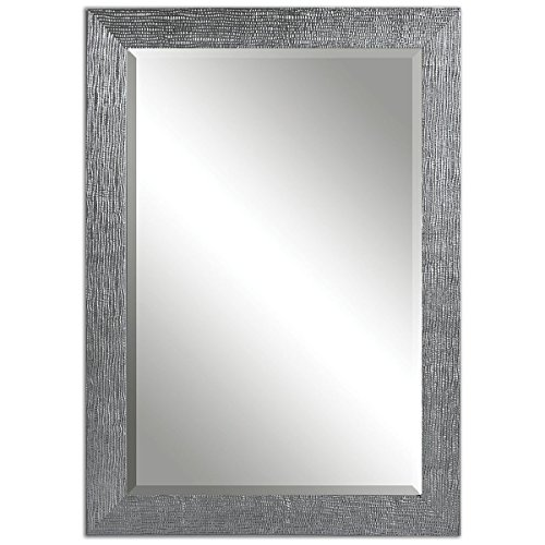 Contemporary Wall Mirror Frame Textured Silver Gray Glaze Ho