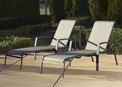 Cosco Outdoor Adjustable Aluminum Chaise Lounge Chair Serene Ridge Patio Furniture Set, 2 PK, Dark Brown - Sling Adjustable Lounge Chair