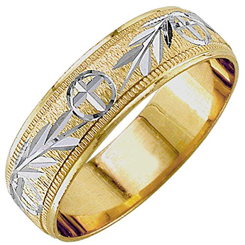 14K-Two-Tone-Gold-Religious-Christian-Womens-Wedding-Band-6mm