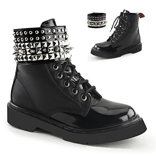 Demonia RIVAL-106 Women Side Zipper, Blk Vegan -Blk Pat, Size (Arch Rival Shoes)