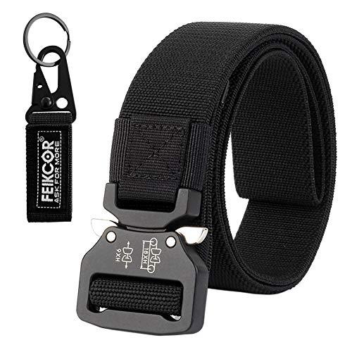 FEIKCOR Tactical Belt Military Nylon Webbing Belt with Heavy Duty Buckle,  Elastic Loop-Keep 5c336b1ea8a