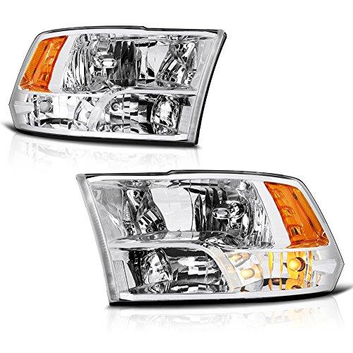 VIPMOTOZ Chrome Housing OE-Style Quad Beam Headlight Headlamp Assembly For 2009-2018 Dodge RAM 1500 2500 3500 Pickup Truck, Driver & Passenger Side