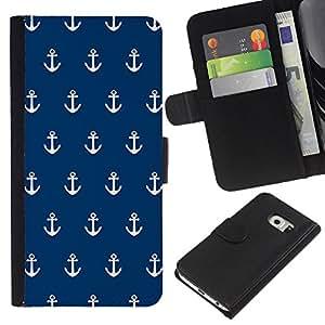 All Phone Most Case / Oferta Especial Cáscara Funda de cuero Monedero Cubierta de proteccion Caso / Wallet Case for Samsung Galaxy S6 EDGE // Navy Anchor Sailor Seaman Boat Sea