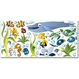 Wandkings Ozean Unterwasserwelt Wandsticker XL Set, 50 Aufkleber, Gesamtfläche 130 x 70 cm