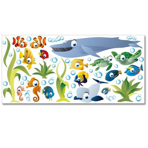 Wandkings WS-50001 Ozean Unterwasserwelt Wandsticker, XL Set, 50-Aufkleber, Gesamtfläche 130 x 70 cm