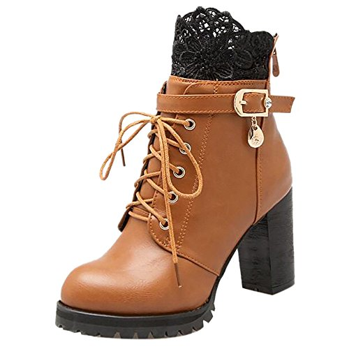 Mode Brown Damen Back Zipper Stiefel COOLCEPT a45wUqPF