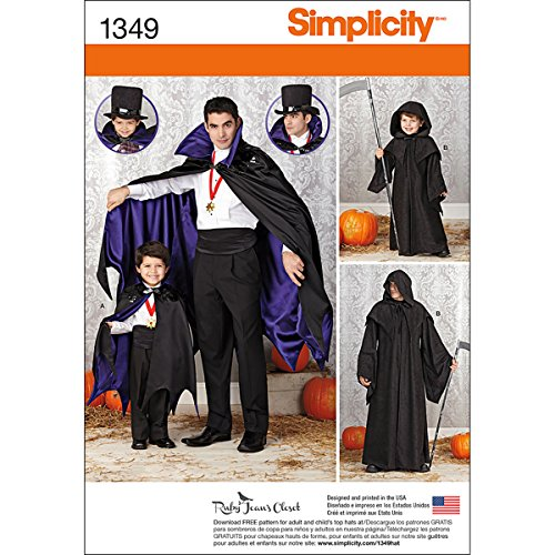 Simplicity Creative Patterns 1349 Boys' and Men's Capes Sewing Patterns, Size A (S-L/S-XL)