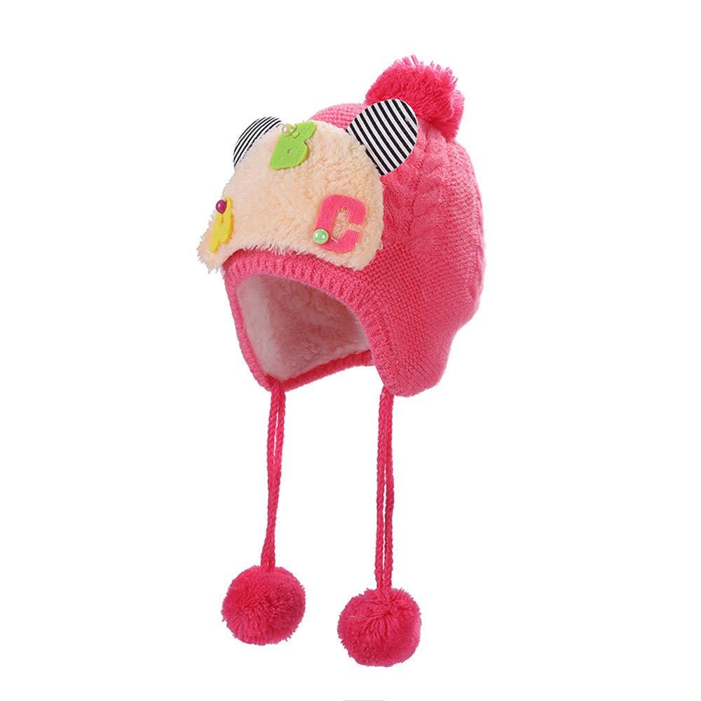 0-1T Baby Girls Boys Ski Beanie Skull Hat, Vinjeely Cute Unisex Baby Pompom Knit Earflape Fur Winter Warm Cap Vinjeely Cute Unisex Baby Pompom Knit Earflape Fur Winter Warm Cap (Blue)