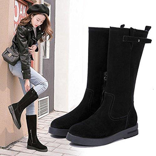 piana Boots di cotone stivali di spessa di caldo Snow una X 38 lungo Winter colore in stivali gambe base SQIAO nero spessore pelle e vqtAxFUw