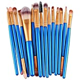 Fullkang 15pcs Make-up Toiletry Tools Wood Hand Kit Wool Make Up Brush Set (Blue 1)