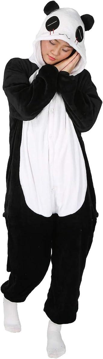 LATH.PIN Pijamas Halloween Cosplay Disfraz de Panda Diseño Enterizo Adulto Mujeres Hombres Salón Desgaste Pijama