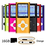 G.G.Martinsen Orange Versatile MP3/MP4 Player with a 16GB Micro SD Card, Support Photo Viewer, Mini USB Port 1.8 LCD, Digital MP3 Player, MP4 Player, Video/Media/Music Player