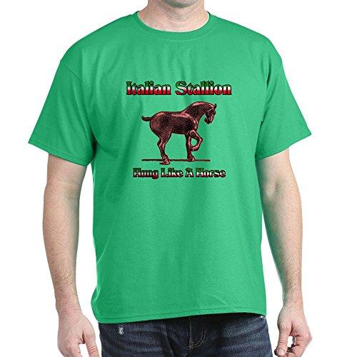 CafePress Italian Stallion Hung Like A Horse Dark T Shirt 100% Cotton T-Shirt Kelly Green