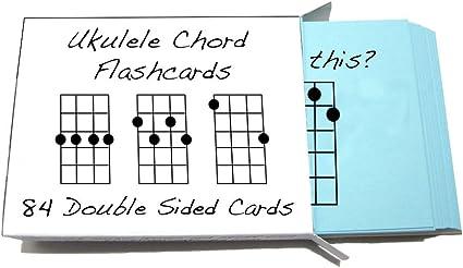 Tarjetas didácticas con acordes para ukelele, 84 tarjetas (para ...