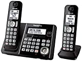 Panasonic KX TG6642B DECT 6.0 Cordless Phone with Anwering System, Black, 2 Handset