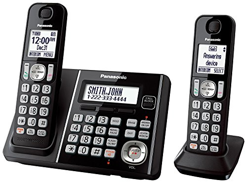 Panasonic KX TG6642B DECT 6.0 Cordless Phone with Anwering System, Black, 2 (Expandable Cordless Phone System)
