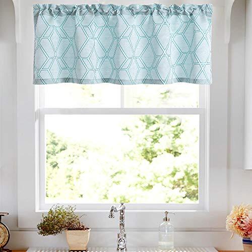 Jacquard Kitchen Valance Bedroom Jacquard Lattice Window Treatment Set Living Room Turquoise 16