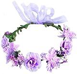 Flower Crown Floral Girls Headband - Purple Headpiece Womens Wedding Bridal - Wreath Artificial Silk Roses Boho