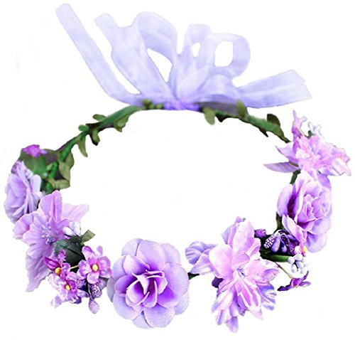 Flower Crown Floral Girls Headband - Purple Headpiece Womens Wedding Bridal - Wreath Artificial Silk Roses ()