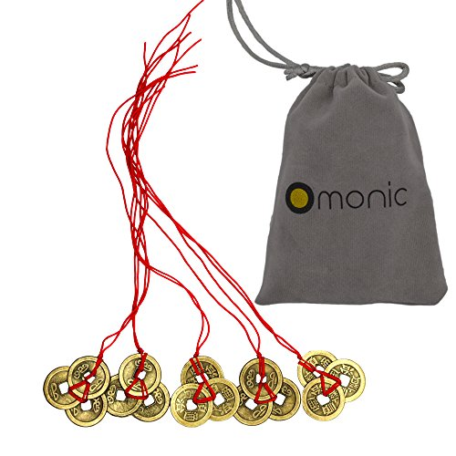 Omonic 5 Pack of 3 Coins Set Handmade Vintage Authentic Chinese Lucky Feng Shui Products FengShui Coins Hamsa Red String for Wealth Good Fortune and Success Home Decor