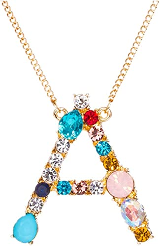 Alloy Rhinestone Crystal Initial Alphabet Letter Pendant Necklace Christmas Gift