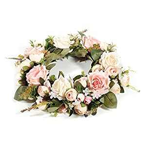 Adeeing Handmade Floral Artificial Simulation Peony Flowers Garland Wreath for Home Party Decor Pink 5