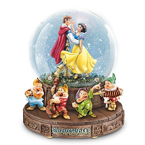 The Bradford Exchange Disney Snow White Musical Glitter Globe with The Seven Dwarfs on a Rotating - Animated Musical Globe Water