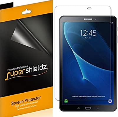 Samsung Galaxy Tab A 10.1 Screen Protector, [3-Pack] Supershieldz Anti-Bubble High Definition Clear Shield + Lifetime Replacements Warranty- Retail Packaging from Supershieldz