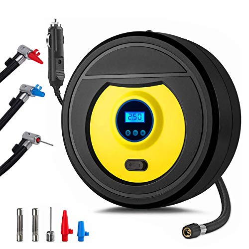 Tabiger Portable Digital Air Compressor Tire Inflator 150PSI 12V Auto Tyre Pump with LED Light for Car, Bicycle, Motorcycle, Balls, Inflatable Pool and Other Inflatables