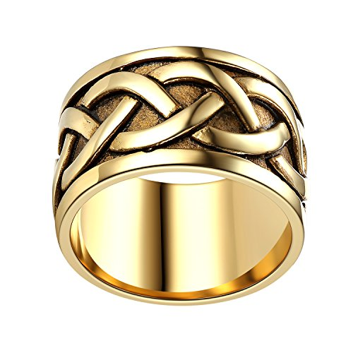 LineAve Mens Stainless Steel Celtic Knot Ring