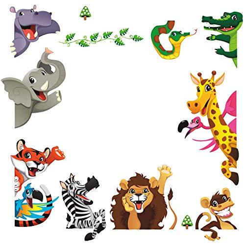 DEKOSH Kids Peel & Stick Animal Wall Stickers | Fantasy Jungle Theme Baby Nursery Wall Decals for Playroom | Decorative Kids Wall Decals Contain Colorful Giraffe, Lion & Tiger Stickers ()