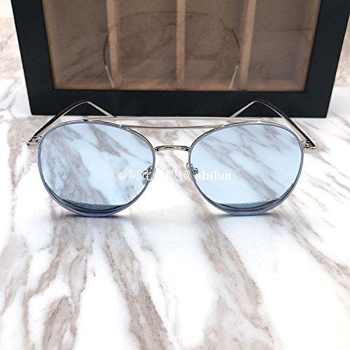 LXKMTYJ Big Box visage rond transparent lunettes de soleil Lunettes de soleil Lunettes élégant couple féminin, bleu transparent
