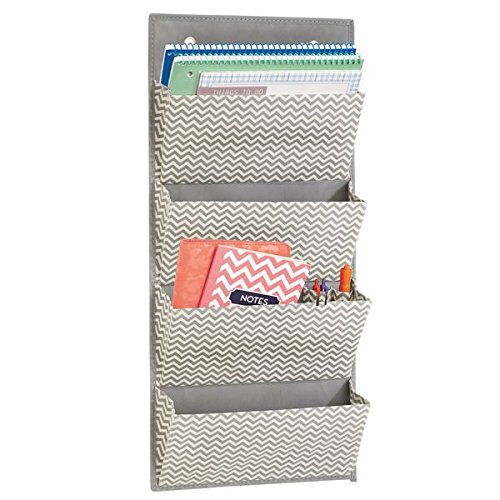 mDesign Over The Door Fabric Office Supplies Storage Organizer for Notebooks, Planners, File Folders - 4 Pockets, Taupe/Natural by mDesign