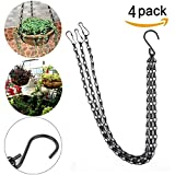 YINUOWEI 19.7 Inch Hanging Flower Basket Galvanized Replacement Chain Flowerpot Iron Sling Chain 3 Point Garden Plant Hanger for Indoor/Outdoor, Set of 4 (Black(19.7In))